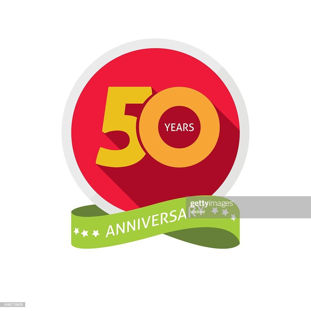 Fiftieth years anniversary logo, 50 year birthday sticker label