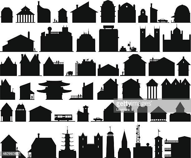 fifty buildings - generic description stock illustrations, clip art, cartoons, & icons