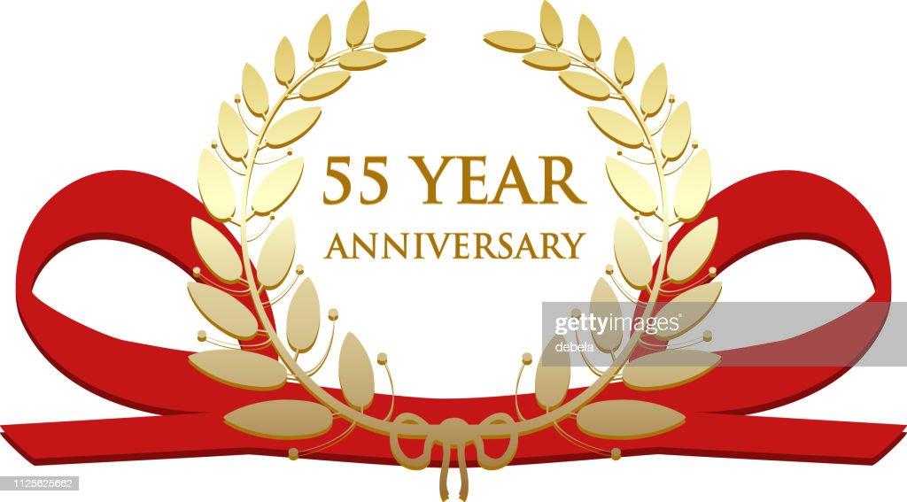 Fifty Five Year Anniversary Celebration Gold Award : stock illustration
