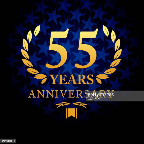 Fifty five year anniversary icon with blue color star shape background