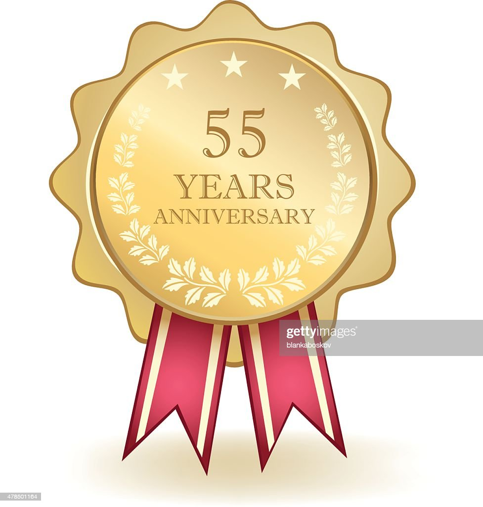 Fifty Five Year Anniversary Medal : stock illustration