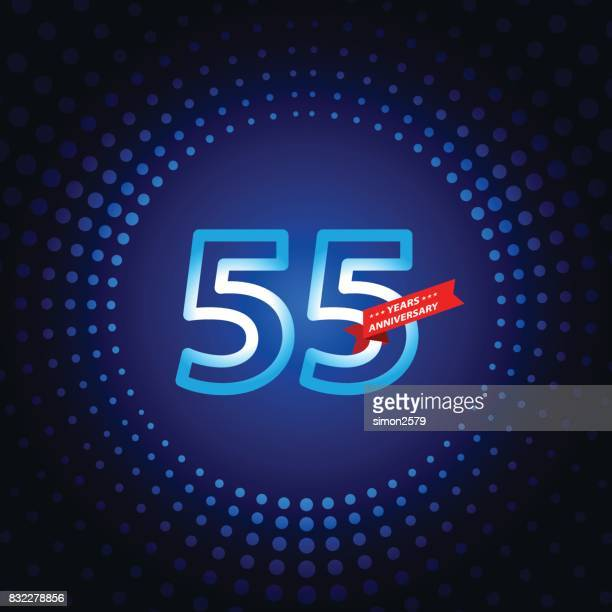 Fifty five years anniversary icon with blue color background