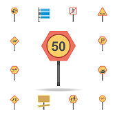 Fifty km colored icon. Detailed set of color road sign icons. Premium graphic design. One of the collection icons for websites, web design, mobile app