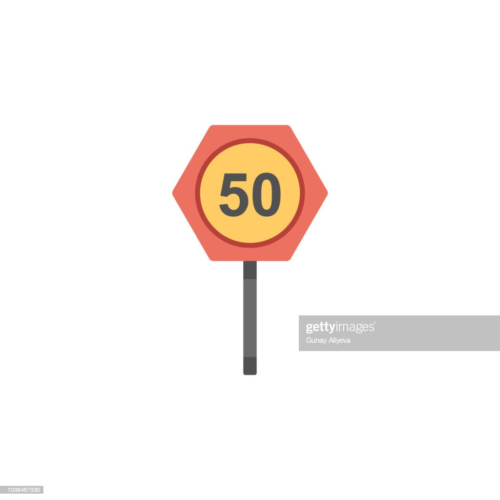 Fifty km colored icon. Element of road signs and junctions icon for mobile concept and web apps. Colored Fifty km can be used for web and mobile