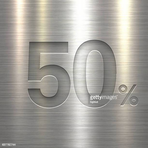 Fifty Percent Design (50%). Number on Metal Texture Background