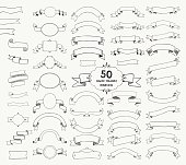 Fifty Vector Black Hand Drawn Ribbons, Banners, Frames