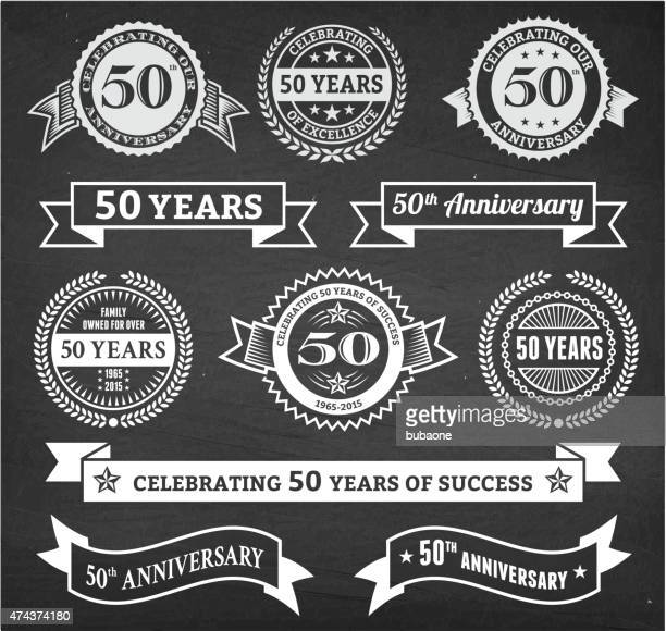 fifty year anniversary hand-drawn chalkboard royalty free vector background
