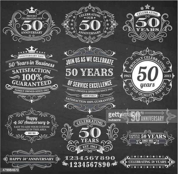 illustrations, cliparts, dessins animés et icônes de 50 anniversaire dessinés à la main tableau fond vectorielles libres de droits - fleur de lys