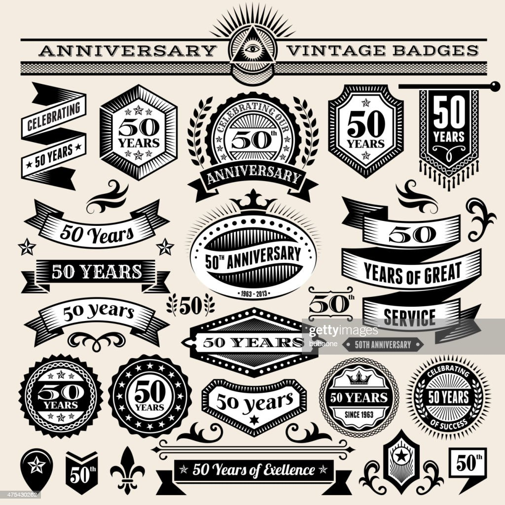 fifty year anniversary hand-drawn royalty free vector background on paper : stock illustration