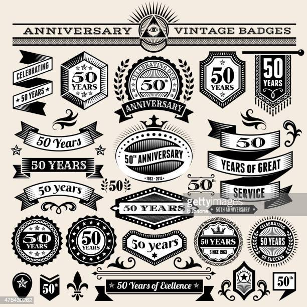 fifty year anniversary hand-drawn royalty free vector background on paper - anniversary stock illustrations