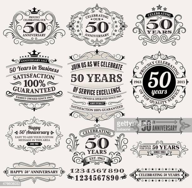 50 周年手描きのロイヤリティフリーのベクター背景に用紙 - 記章点のイラスト素材/クリップアート素材/マンガ素材/アイコン素材