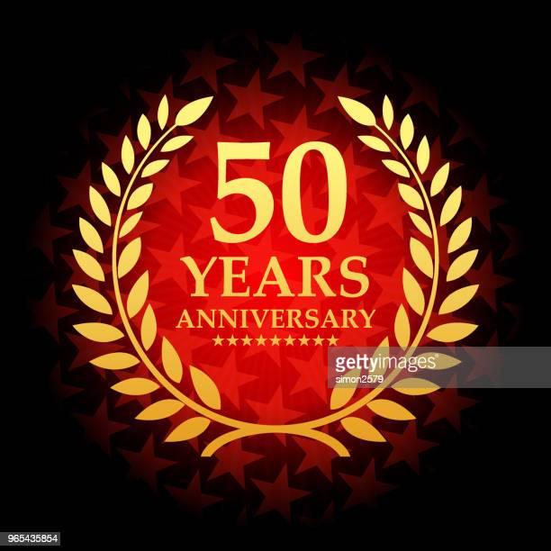 星の形の赤い色の背景を持つ 50 年周年記念アイコン - 記念日点のイラスト素材/クリップアート素材/マンガ素材/アイコン素材