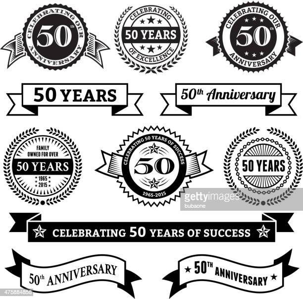 fifty year anniversary vector badge set royalty free vector background
