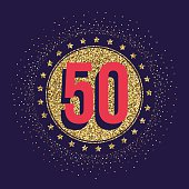 Fifty years anniversary celebration logotype. 50th anniversary golden logo.