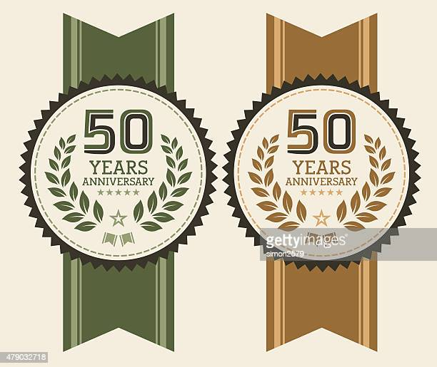 Fifty years anniversary emblem set