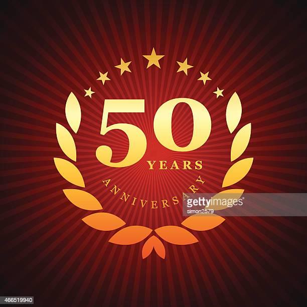 50 年記念エンブレム - 数字の50点のイラスト素材/クリップアート素材/マンガ素材/アイコン素材