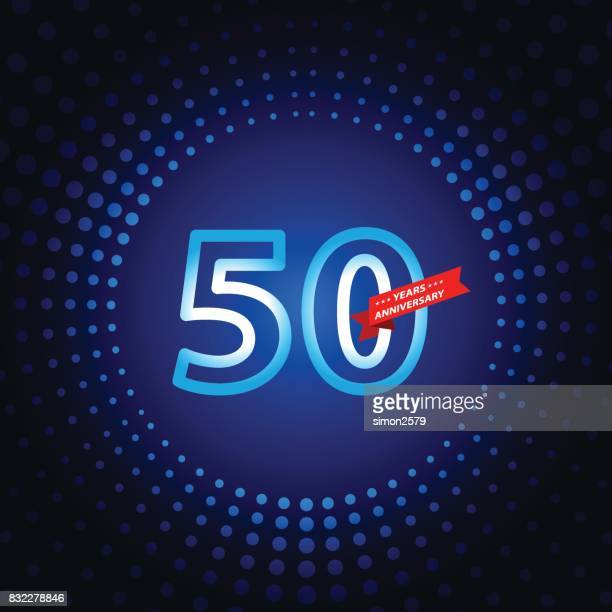 Fifty years anniversary icon with blue color background