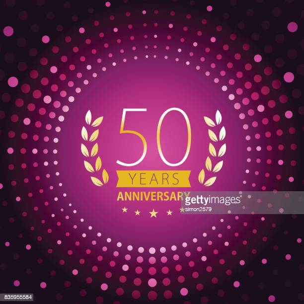 Fifty years anniversary icon with purple color background