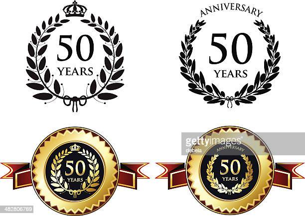 stockillustraties, clipart, cartoons en iconen met fifty years anniversary - 50 jarig jubileum