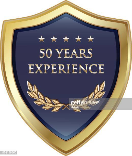 fifty years experience gold shield - award plaque stock illustrations, clip art, cartoons, & icons