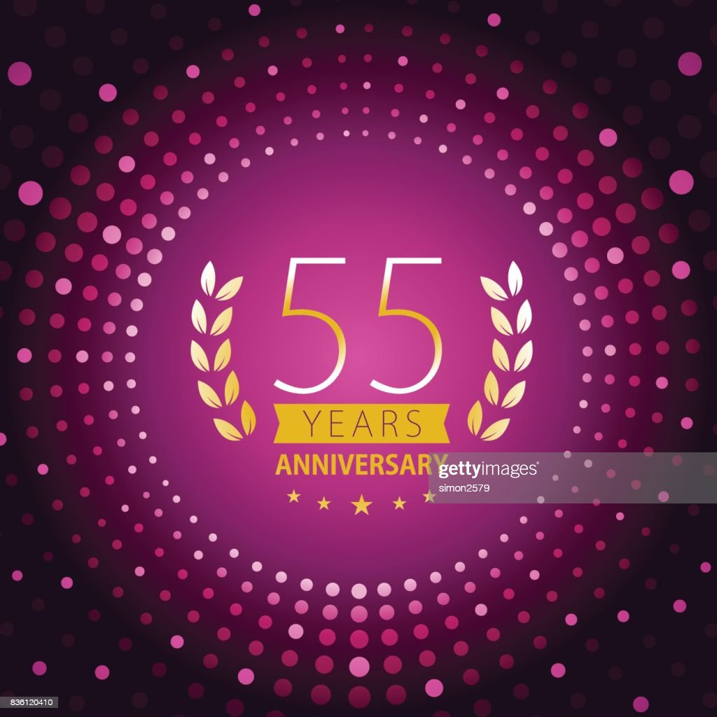 Fifty-five years anniversary icon with purple color background : stock illustration