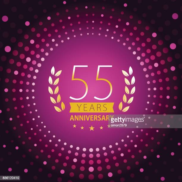 Fifty-five years anniversary icon with purple color background