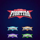 Fight club emblem. Mixed martial arts sport  on dark background