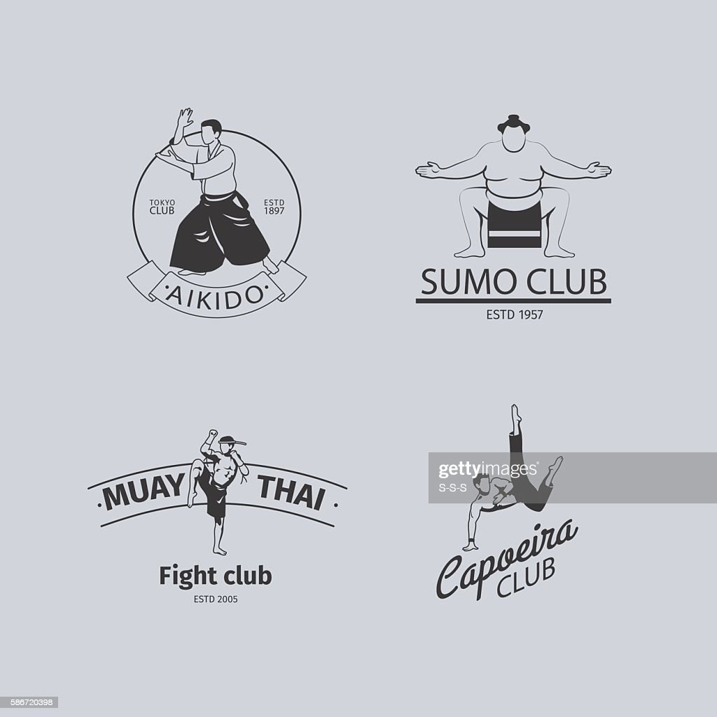 Fight club logo set