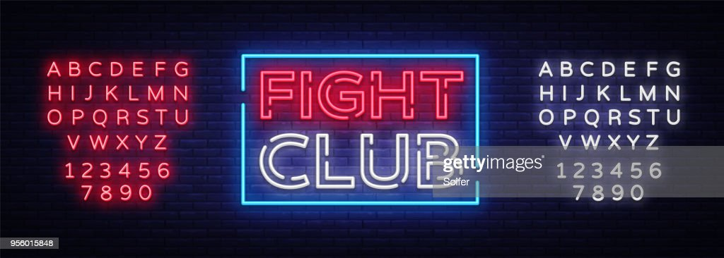 Fight club neon signboard. Bright night advertising, light banner, design neon sign template. Vector illustration. Editing text neon sign