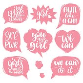 Fight Like A Girl, We Can etc hand lettering prints set. Vector calligraphy of feminist movement in speech bubbles.