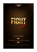 Fight night poster template. Vector golden words on dark background.
