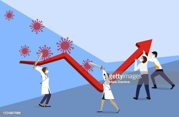 ilustrações de stock, clip art, desenhos animados e ícones de fight to stop coronavirus covid-19 outbreak crisis, help save economy and business to survive in financial crisis concept.teamwork concept - negócios finanças e indústria