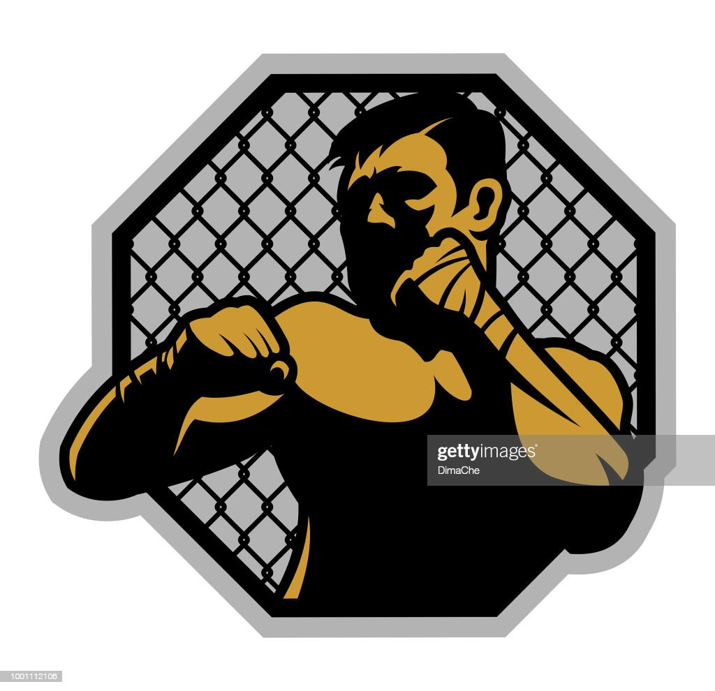 MMA vechter in rek : Stockillustraties