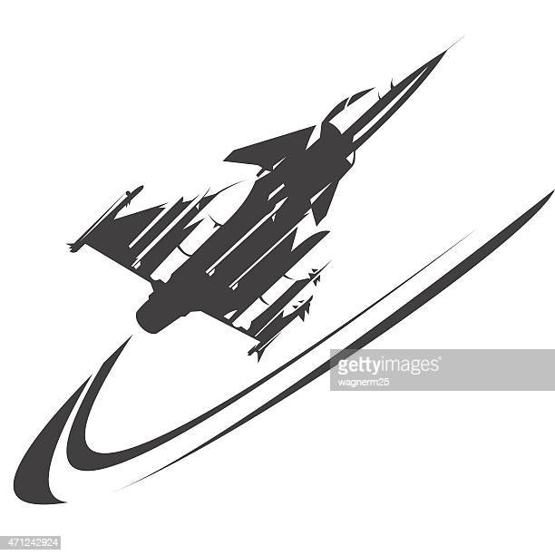 Fighter jet performing an high speed curve