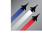 Fighter planes with the flag of France vector