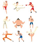 Fighters people vector set.