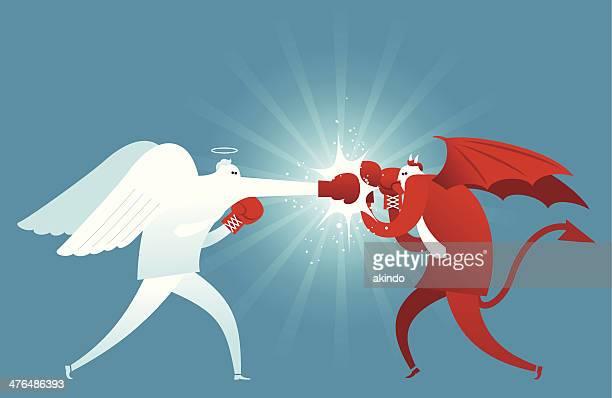 fighting against evil - rudeness stock illustrations