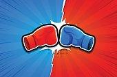 Fighting Background, Boxing Gloves, Versus. Vector illustration