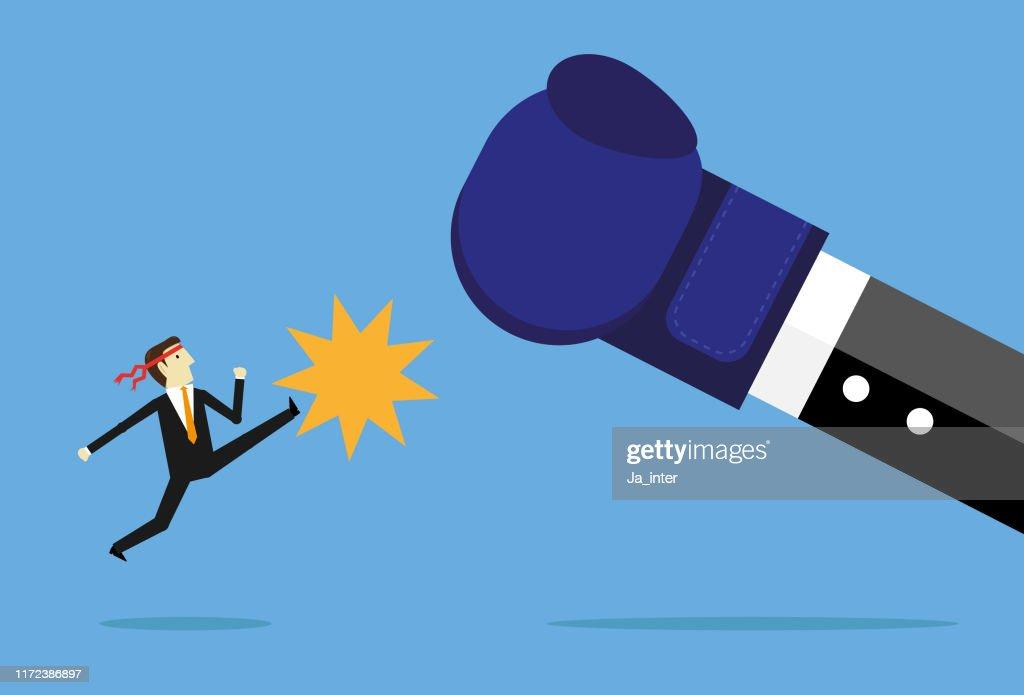 Fighting boss : stock illustration