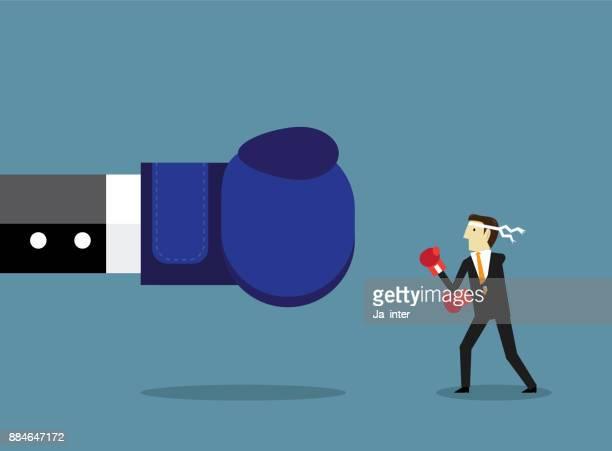 fighting boss - unfairness stock illustrations