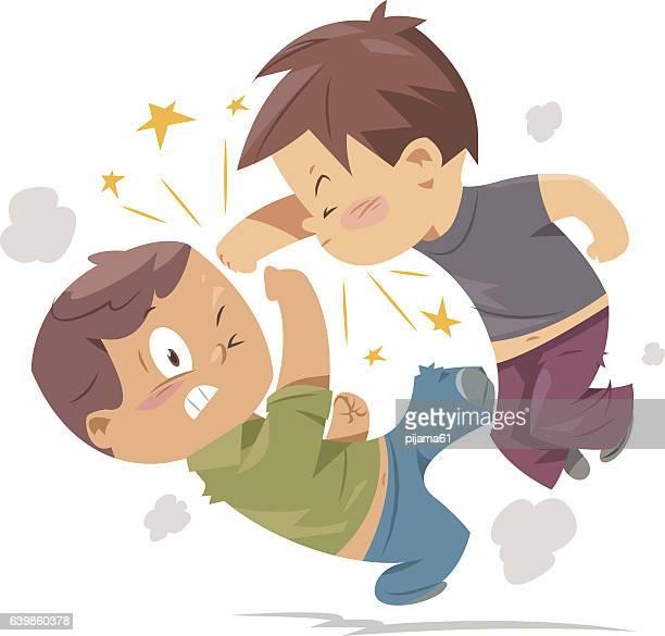 fighting boys - fighting stock illustrations