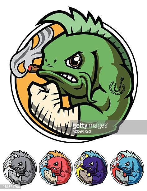 fighting fish icon - combat sport stock illustrations, clip art, cartoons, & icons