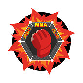 MMA . Fighting glove. Emblem for sports team and club. Combat badge for athletes