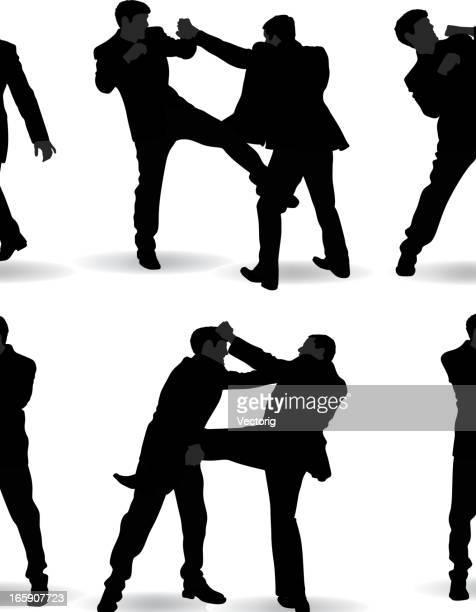 戦う男シルエット - 対決点のイラスト素材/クリップアート素材/マンガ素材/アイコン素材
