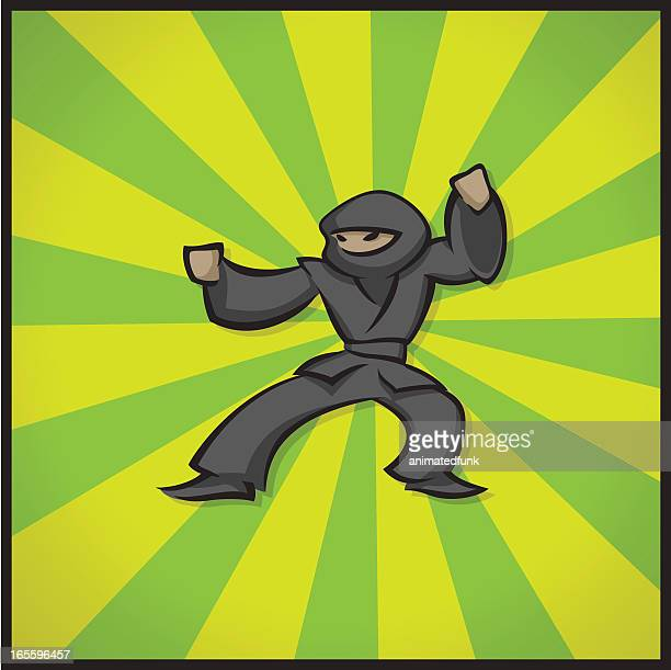 fighting ninja - only japanese stock illustrations, clip art, cartoons, & icons