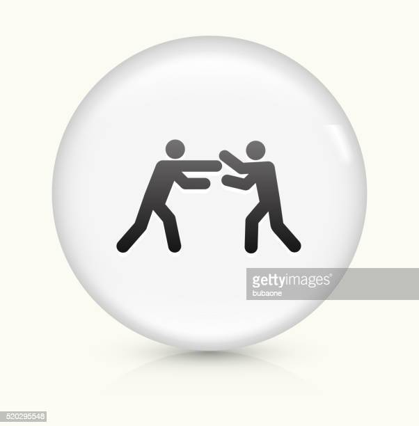 fighting stick figures icon on white round vector button - fighting stance stock illustrations, clip art, cartoons, & icons