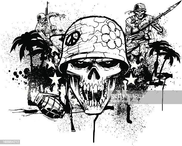 fighting war soldier graphic with grenade - army helmet stock illustrations, clip art, cartoons, & icons