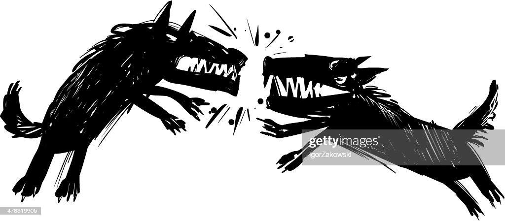 fighting wolves illustration