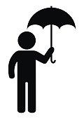 Figure and umbrella