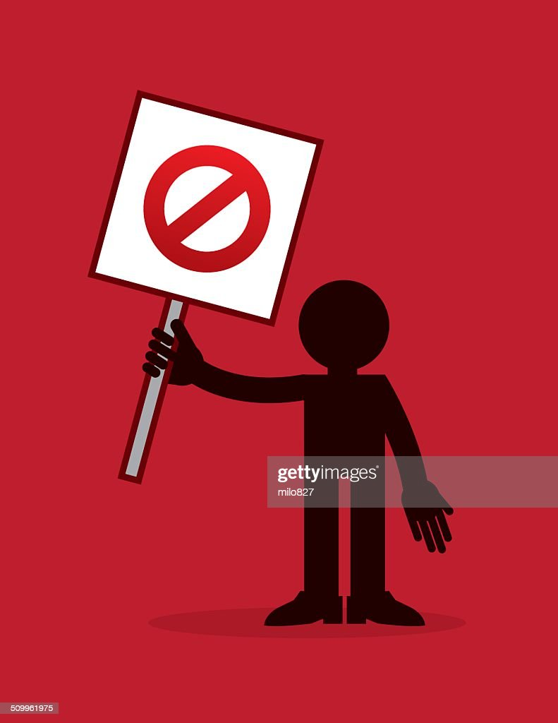 Figure Holding Do Not Cross Out Sign Vector Art Getty Images